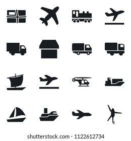 Set of simple vector isolated icons truck vector, plane, ship, train, package, fly, sailboat, army helicopter