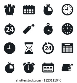 Set of simple vector isolated icons stopwatch vector, 24 hours, alarm clock, schedule, sand, calendar, dynamit