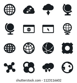 Set of simple vector isolated icons world vector, any currency, atom core, globe, cloud technologies, music, connection, network, browser, download