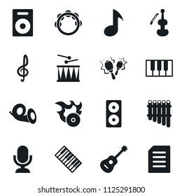 Set of simple vector isolated icons music vector, guitar, microphone, treble clef, speaker, piano keys, drum, maracas, pan flute, viola, hit, tambourine, horn, playlist