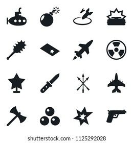 Set of simple vector isolated icons bomb vector, air, bang, nuclear sign, mine, arrows, axe, truncheon, cannonballs, knife, star, chevron, cruise missile, army plane, submarine, gun