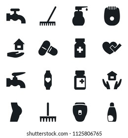 Set of simple vector isolated icons rake vector, water tap, liquid soap, house hold, heart check, pills vial, buttocks, monitor, epilator, sunscreen