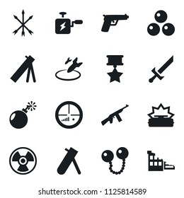 Set of simple vector isolated icons bomb vector, air, bang machine, nuclear sign, mine, sword, arrows, cannonballs, medal, army mortar, aim, automatic rifle, gun, ruin