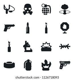 Set of simple vector isolated icons slingshot vector, fire, stop, grenade, ruin, nuclear explosion, mine, barbed wire, gas mask, bullet, molotov cocktail, gun