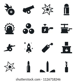 Set of simple vector isolated icons fireplace vector, rocket, bang, music hit, siren, dynamit, machine, gun, cannonballs, artillery, bullet, molotov cocktail