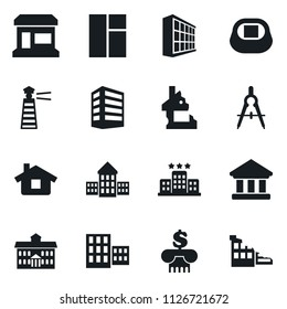 Set of simple vector isolated icons office building vector, store, university, school, drawing compass, bank, stadium, window, home, hotel, lighthouse, ruin