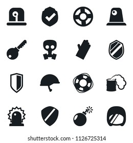 Set of simple vector isolated icons rubber glove vector, protect, siren, shield, key, Lifebuoy, bomb, toxic weapon, gas mask, army helmet