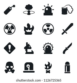 Set of simple vector isolated icons fire vector, siren, attention sign, dynamit, ruin, nuclear explosion, toxic weapon, sword, knife, gas mask, bullet
