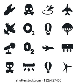 Set of simple vector isolated icons plane vector, parachoote, oxygen, air conditioner, microphone, balloon, bomb, gas mask, army, helicopter