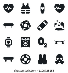 Set of simple vector isolated icons washer vector, heart pulse, skateboard, monitor, oxygen, Lifebuoy, life vest, pool of blood, gas mask