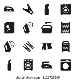 Set of simple vector isolated icons clothespin vector, steaming, drying clothes, washer, washing powder, cleaning agent, washboard, iron