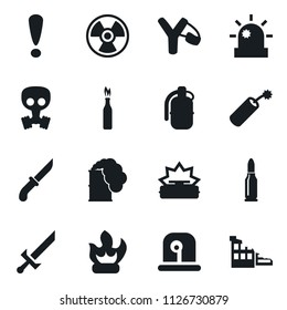 Set of simple vector isolated icons slingshot vector, fire, siren, attention sign, dynamite, grenade, nuclear, mine, toxic weapon, sword, knife, gas mask, bullet, molotov cocktail, ruin