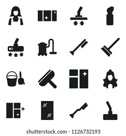Set of simple vector isolated icons scraper vector, broom and bucket, vacuum cleaner, mop, car fetlock, window cleaning, agent, shining, woman