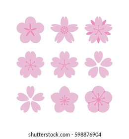 Set of simple vector sakura flowers in a flat style. Floral design element.