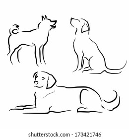 set of simple vector silhouettes of dogs in different poses