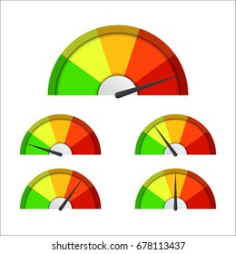 Set of simple vector tachometers with indicators in red, yellow and green part,  speedometer icon, performance measurement symbol isolated on white background