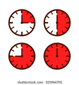 Set of simple watch icon in different time laps