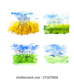Set of simple watercolor landscape with fields. Vector illustration of nature in a Provencal style. Organic farms.