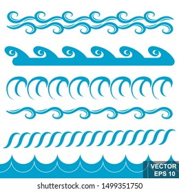 Set of simple waves.  Flat style. For your design.