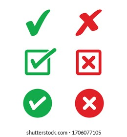 Set of simple web buttons: green check mark and red cross.Vector illustration.