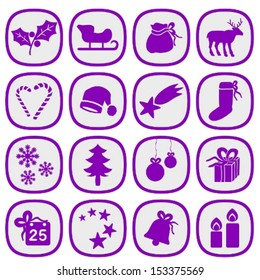 Set of simple xmas icons in silver and purple colors.