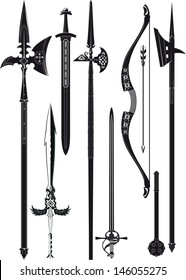 set of simplified black-and-white silhouette of medieval weapons.