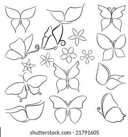 Set of simplified butterflies