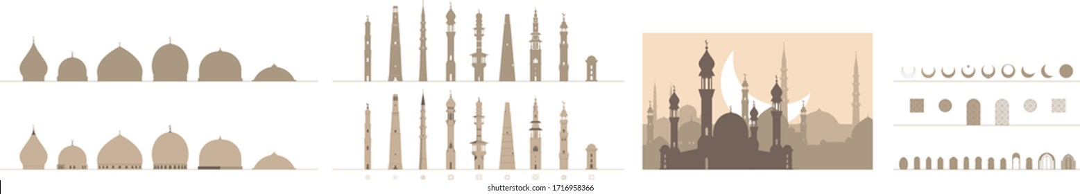 A set of simplified Islamic architecture elements of mosque minarets, domes, doors, crescents and patterns for graphic designers