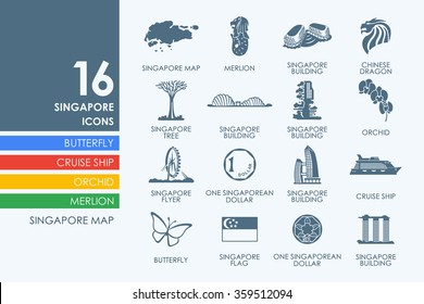 Set of Singapore icons