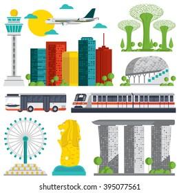 Set of Singapore Landmark icons