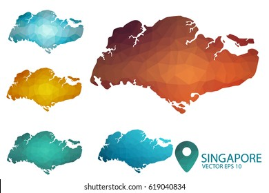 Set of Singapore maps. Bright gradient map of country in low poly style. Multicolored country map in geometric style for your infographics. Vector illustration eps 10.
