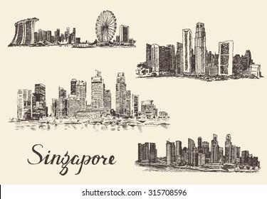 Set of Singapore skylines, vintage engraved illustration, hand drawn, sketch