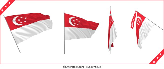 Set of Singapore state waving flags in solemn or proud or duplomacy style. Vector illustration.