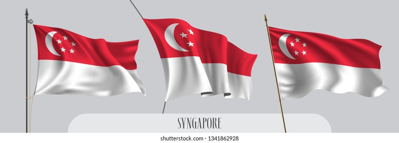 Set of Singapore waving flag on isolated background vector illustration. 3 red white Singaporean wavy realistic flag as a patriotic symbol