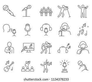 Set of singing Related Vector Line Icons. Contains such Icons as karaoke, concert, song, music and more.