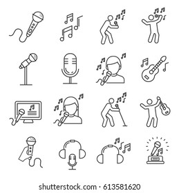 Set of singing Related Vector Line Icons. Includes such Icons as singer, music, musical notes, microphone, concert, Opera, guitar, headphones, karaoke