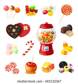 Set single cartoon candies: lollipop, candy cane, bonbon, marmalade teddy bear, licorice, candied fruit, gumball machine, candy apple, caramel. Vector illustration flat icon isolated on white.