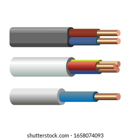 A set of single-core, two-core and three-core electrical copper cables PVC insulated. Vector illustration isolated on white background
