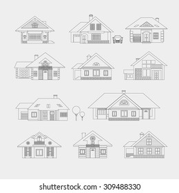 Set of single-storey houses with attics provincial. Front view. Various architectural solutions. Linear drawing on a light background.