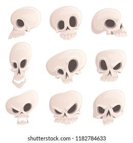 Set sinister skulls with different emotions for Halloween. Vector illustration