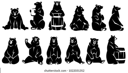 Set sitting bears. Black silhouette. Isolated on a white background.