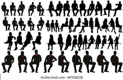 set of sitting men women silhouettes