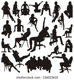 Set of sitting people silhouettes. Vector illustration.