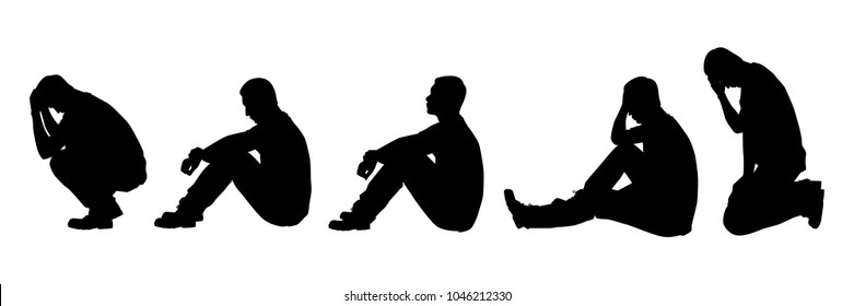 Set of sitting sad young man silhouette vector