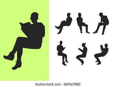 Set of sitting silhouettes with books