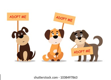 Set of sitting and standing dogs with a poster Adopt me. Dont buy - help the homeless animals find a home, kit of sad puppies - vector illustration