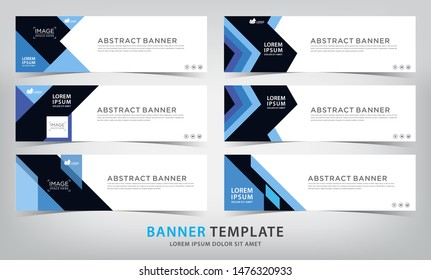 set of six abstract blue web banner templates, vector illustration