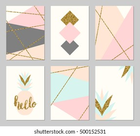 A set of six abstract geometric designs in gold glitter, gray, cream, light blue and pastel pink. Modern and original greeting card, invitation, poster design templates.