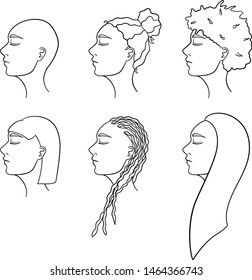 Set of six African American women hairstyles in lines. Women's heads turned in profile. Different haircuts. White background, vector.