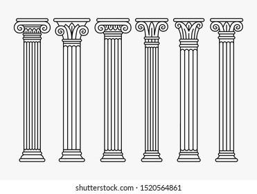 Set of six ancient greek, roman columns, pillars, linear silhouettes